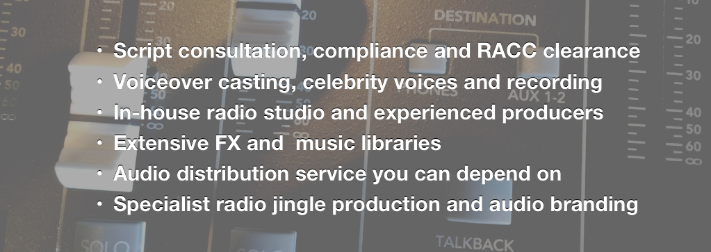 radio advertising list of services at Sounds Visual